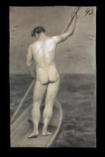Vorzügliche Akt Zeichnung Frankreich 1840 Männlicher Akt Nude