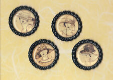 Graphic45 A LADIES' DIARY #115 (4) Black Flat Bottle Cap Accents HANDMADE