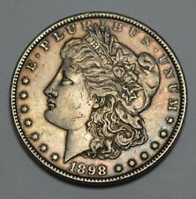 1898-P Morgan Dollar Silver Old US Coin,Double Die Date ?, NATURAL TONING!