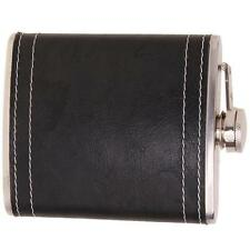 7oz New Outdoor Men Black Stainless Steel &Pu Leather Flask Hip Pocket Alcohol S
