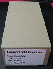 "GUARDHOUSE BRAND GLASSINE ENVELOPE SIZE #2. BOX OF 1000 COUNT. 2 5/16"" x 3 5/8"""