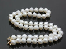 """Stunning!14K Gold Clasp AAA+ 8-9mm White Akoya Cultured Round Pearl Necklace 18"""""""