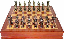 Chess. King Arthur Themed Chess set / Pewter Pieces & Wood Board and Storage
