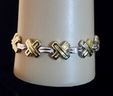 """Sterling Silver Bracelet X Design Gold Plated Accent MILOR ITALY 7.25"""" 15.3g 925"""