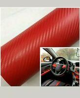 Auto Interior Twill-Weave Red Carbon Fiber Vinyl Wrap Film Sheet Decal Sticker