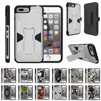 "For Apple iPhone 7 Plus Case (5.5"") Holster Clip Kickstand Armor Silver Cover"