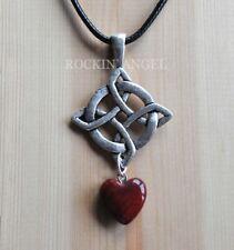 Antique Silver Plt Celtic Knot Pendant & Red Jasper Heart Necklace GIft Reiki
