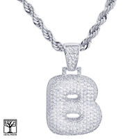 """Iced CZ Custom Bubble Letter B Initial Silver Plated Pendant 24"""" Chain Necklace"""