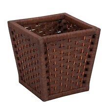 Wicker Waste Basket Paper Rope Bed Bath Room Trash Storage Brown Planter Pot New