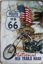 """Route 66 """"Old Trails Road"""" metal plaque Biker Americana harley man cave tin sign"""