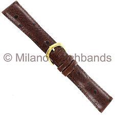 20mm deBeer Dark Brown Ostrich Grain Genuine Calfskin Leather Watch Band