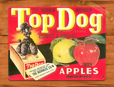 "TIN SIGN ""Top Dog Apples "" Food Farm Kitchen Health Decor Mancave Fruit Gift"