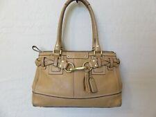Coach Hamptons Tassel Tote Bag Handbag Tan Braided Pebbled Leather 10528