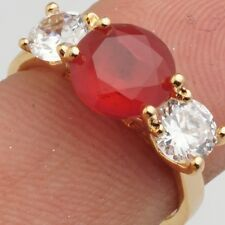 Red Clear Round Cubic Zircon Gold Plated Lady Girl Wedding Jewelry Ring Size 9