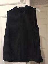 New Look Striped Navy Chiffon Vest Top Size 12 New With Tags