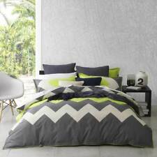 Logan and Mason Marley Lime Green Chevron King Size Bed Doona Quilt Cover Set