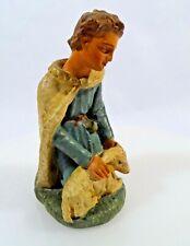 Alte Krippen Figur Gips bemalt Hirte mit Schaf H 16,5 cm Figur um 1930 Krippe