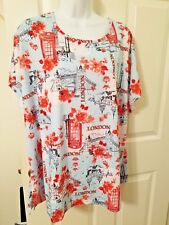 Womens Plus Size 2X Destination London Print Top w/Tags C.D.DANIELS MSRP $40