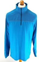 CALVIN KLEIN Mens Tracksuit Top Track Jacket M Medium Blue Polyester 1/4 Zip