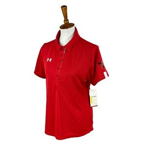 Under Armour Women's Semi Fitted Short Sleeve Red Golf Polo NWT Top Large