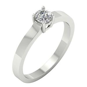 SI1 G 0.50Ct Round Diamond Solitaire Engagement Ring 14K White Gold 4 Prong Set
