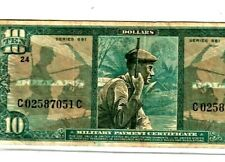 """$10 """"Military Payment Certificate"""" Series 681 $10""""Military Payment"""" Nice Note!"""
