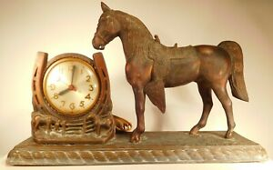 Vintage Aged Bronze Finish Horses w/ Horseshoe Electric Mantle Clock
