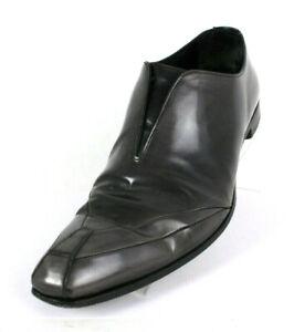 PRADA Smoke Gray Leather Square-Toe Men's Slip-On Dress Shoes 9 10 US