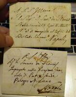 1816 LOTTO 2 PREFILATELICHE DA FOGGIA A NAPOLI CON TIMBRO 'FOGGIA' IN ROSSO