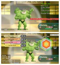 Pokemon Let's Go Pikachu & Eevee ✨ SHINY ✨ 6 IVs 1 LEVEL MACHAMP FAST DELIVERY