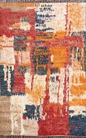 Abstract Modern Moroccan Oriental Area Rug Hand-knotted Wool Kitchen Carpet 5x6