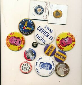 K10 LOT OF 12 OLD PINBACK BUTTONS W PINS /AND NO  PINS