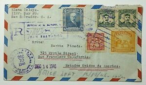 1946 Republic of El Salvador Registered Airmail to San Francisco California