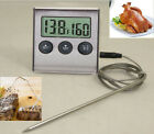 BBQ Meat LCD Digital Cooking Thermometer Probe Plus Timer Stainless Steel