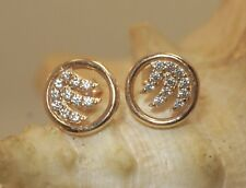 9.5MM SMALL 14K ROSE GOLD HAWAIIAN OCEAN WAVE CIRCLE PAVE CZ POST STUD EARRINGS