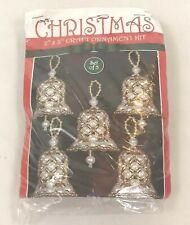 Vintage Christmas Ornament Kit Bead & Pearls Bells Set 5 Crafts Design Works