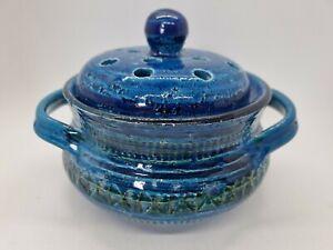 Bitossi Retro Art Pottery Posey Bowl Aldo Londi Rimini Blue Green Pot Pourri A/F