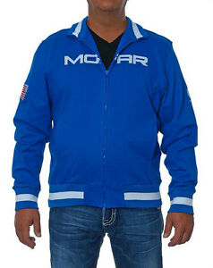 Mopar Jacket Slim Fit Track Zip Up Royal Blue White Mopar Logos Zip Sweatshirt