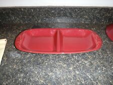 Longaberger Pottery Woven Traditions Paprika (Red) Divided Serving Relish Dish