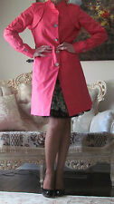 New CELINE Runway Pink/Coral Silk/Cotton dress-y Coat/Trench FR 40,US 8-10/M-L