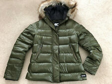 SOREL Faux Fur Trimmed Hooded Down Puffer Jacket in Olive Green Size M
