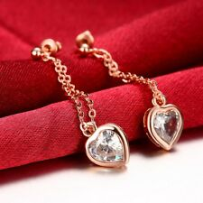 Classic 18k 18ct Rose Gold Filled GF Heart CZ Dangle Earrings E-A730 Gift Woman