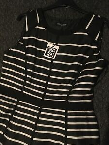 Black White Debenhams Fit And Flare Dress Size 12 New Cost £55