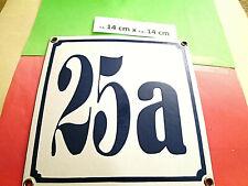 Hausnummer Nr. 25a d-blaue Zahl  weißem Hintergrund 14 cm x 14 cm Emaille