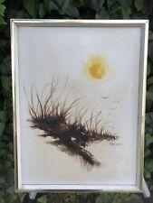 WESSON Original 1960s MODERN MINIMALIST SUNRISE SEASCAPE MidCentury Oil Canvas