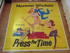 "PRESS FOR TIME 1966 ORIGINAL 6 SHEET CINEMA POSTER Norman Wisdom HUGE 80"" X 80"""