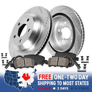 Rear Drill & Slot Brake Rotors & Ceramic Pads For 2007 2008 2009 2010 BMW X5