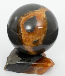 "SIMBIRCITE ammonite sphere stone 2.32"" with stand ball #1324T - RUSSIA"