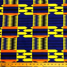 Kente African Print Fabric 100% Cotton 44'' wide sold by the yard (19004-2)