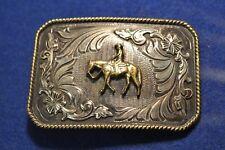 Silver Strike Western Pleasure Gold Oxidized Rectangle Belt Buckle B-249 NEW
